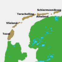 Nederlandse Waddeneilanden op de kaart